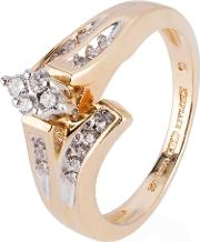 Pre Owned 14ct Yellow Gold Diamond Twist Cluster Ring 4112410