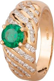 Pre Owned 14ct Yellow Gold Emerald And Diamond Ring Gmc910542