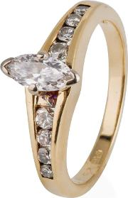 Pre Owned 14ct Yellow Gold Marquise Diamond Solitaire Ring 4332226
