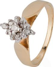 Pre Owned 14ct Yellow Gold Marquise Shaped Diamond Cluster Ring 4332825