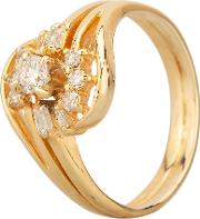 Pre Owned 14ct Yellow Gold Multi Cut Diamond Cluster Twist Ring Gmc 50124