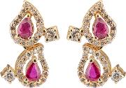 Pre Owned 14ct Yellow Gold Ruby And Diamond Earrings 4317113