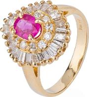 Pre Owned 14ct Yellow Gold Ruby And Diamond Ring 4328403
