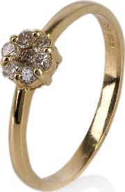 Pre Owned 14ct Yellow Gold Seven Stone Diamond Cluster Ring 4332166