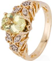 Pre Owned 14ct Yellow Gold Stone Set Floral Pattern Ring 4328125