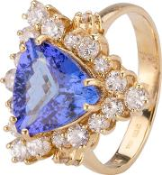 Pre Owned 14ct Yellow Gold Tanzanite And Diamond Ring 4312065