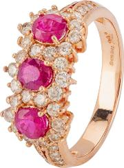 Pre Owned 18ct Rose Gold Ruby And Diamond Cluster Ring 4328263