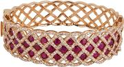 Pre Owned 18ct Rose Gold Ruby And Diamond Hinged Bangle 4321094