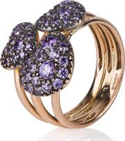 Pre Owned 18ct Rose Gold Three Amethyst Heart Ring 4309776