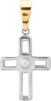 Pre Owned 18ct Two Colour Gold Diamond Cross Pendant 4156791