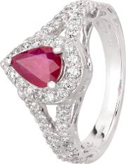 Pre Owned 18ct White Gold 0.95ct Pear Shaped Ruby And 0.70ct Diamond Cluster Ring Gmc 11514