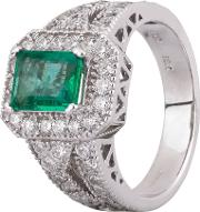 Pre Owned 18ct White Gold 1.20ct Emerald And Diamond Halo Ring Gmc 11521