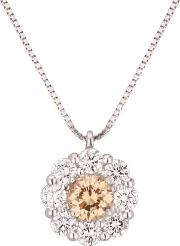 Pre Owned 18ct White Gold 2.20ct Diamond Flower Pendant Necklace 4314177