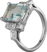 Pre Owned 18ct White Gold 5.00ct Aquamarine And 0.48ct Diamond Ring W605106 450