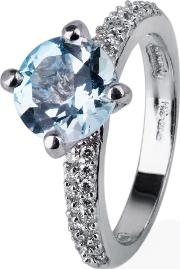 Pre Owned 18ct White Gold Blue Topaz And Diamond Ring 4332276