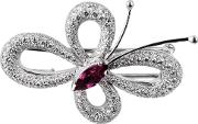 Pre Owned 18ct White Gold Diamond And Pink Topaz Butterfly Brooch 4313095