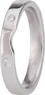 Pre Owned 18ct White Gold Diamond Set Shaped Wedding Ring 4187699