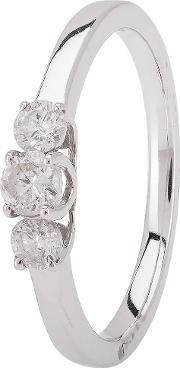 Pre Owned 18ct White Gold Diamond Three Stone Ring 4112430