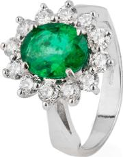 Pre Owned 18ct White Gold Emerald And Diamond Cluster Ring 4328075
