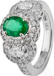 Pre Owned 18ct White Gold Emerald And Diamond Triple Cluster Ring 4328073