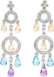 Pre Owned 18ct White Gold Multi Stone Drop Earrings 4333199