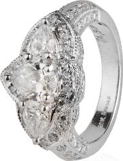 Pre Owned 18ct White Gold Pear Cut Diamond Triple Cluster Ring 4332963