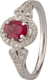 Pre Owned 18ct White Gold Ruby And Diamond Ring