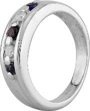 Pre Owned 18ct White Gold Sapphire And Diamond Five Stone Ring F606014 446