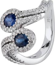 Pre Owned 18ct White Gold Sapphire And Diamond Twist Ring 4328395