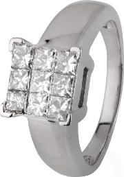 Pre Owned 18ct White Gold Square Diamond Cluster Ring 4112117