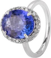 Pre Owned 18ct White Gold Tanzanite And Diamond Ring 4328274