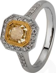 Pre Owned 18ct White Gold Yellow And White Diamond Cluster Ring 4328142