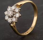 Pre Owned 18ct Yellow Gold 0.45ct Diamond Flower Cluster Ring
