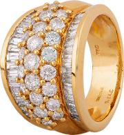 Pre Owned 18ct Yellow Gold 2.50ct Diamond Five Row Ring 4312303
