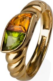 Pre Owned 18ct Yellow Gold Citrine And Peridot Ring 4146674
