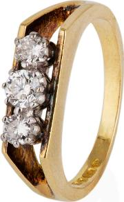Pre Owned 18ct Yellow Gold Diamond Three Stone Ring 4111285
