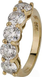 Pre Owned 18ct Yellow Gold Five Stone Diamond Half Eternity Ring 4328190