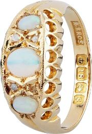 Pre Owned 18ct Yellow Gold Opal Diamond Seven Stone Ring 4111904