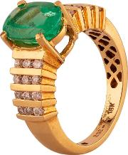 Pre Owned 18ct Yellow Gold Oval Cut Emerald And Diamond Ring J511145 447