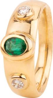 Pre Owned 18ct Yellow Gold Oval Emerald And Diamond Ring 4111875