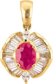 Pre Owned 18ct Yellow Gold Ruby And Diamond Pendant 4314133
