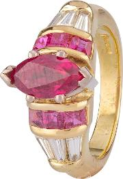 Pre Owned 18ct Yellow Gold Ruby And Diamond Ring 4328322