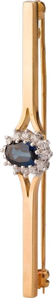 Pre Owned 18ct Yellow Gold Sapphire And Diamond Brooch 4113356