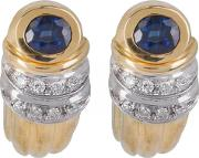 Pre Owned 18ct Yellow Gold Sapphire And Diamond Leverback Stud Earrings 4333223