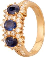 Pre Owned 18ct Yellow Gold Sapphire And Diamond Ring 4312268