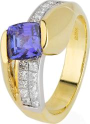Pre Owned 18ct Yellow Gold Tanzanite And Diamond Ring 4328143