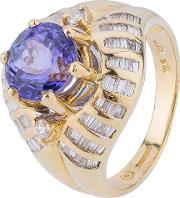 Pre Owned 18ct Yellow Gold Tanzanite And Diamond Ring 4328288