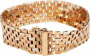 Pre Owned 9ct Three Colour Gold Brick Link Bracelet 4107074