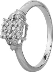 Pre Owned 9ct White Gold 0.30ct Diamond Square Cluster Ring G478995 444