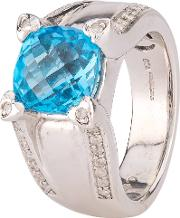 Pre Owned 9ct White Gold Blue Topaz And Diamond Ring 4112460